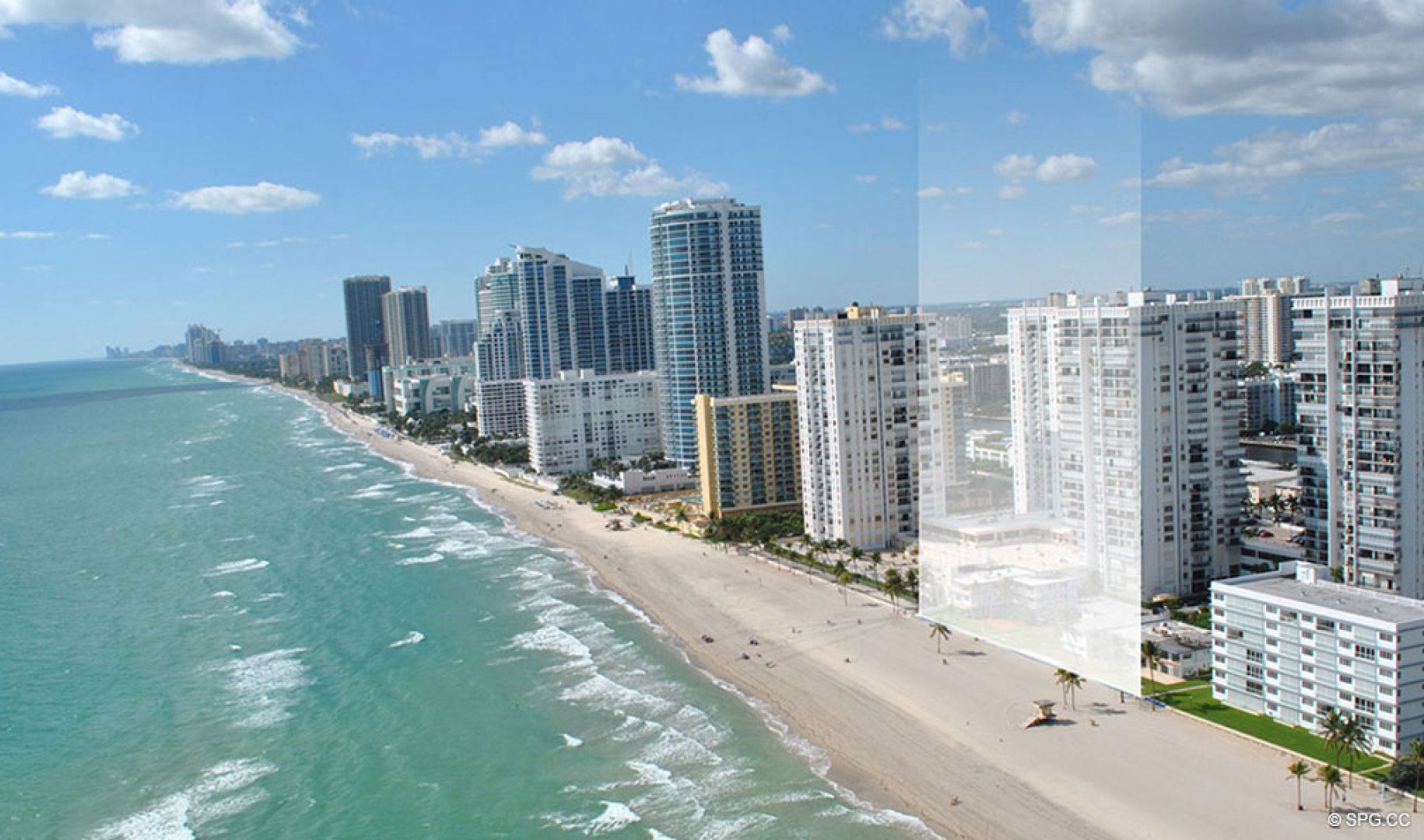 Location Looking South of Sage Beach, Luxury Oceanfront Condos in Hollywood Beach Florida 33019