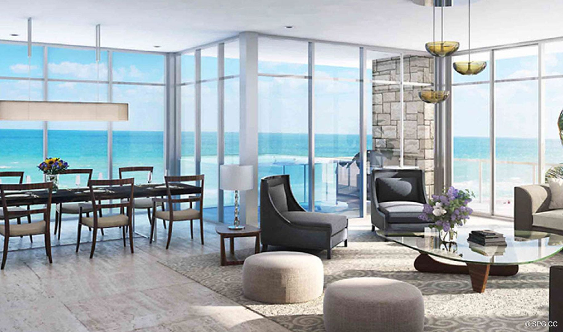 Spacious Interiors with Floor to Ceiling Glass at Sage Beach, Luxury Oceanfront Condos in Hollywood Beach Florida 33019
