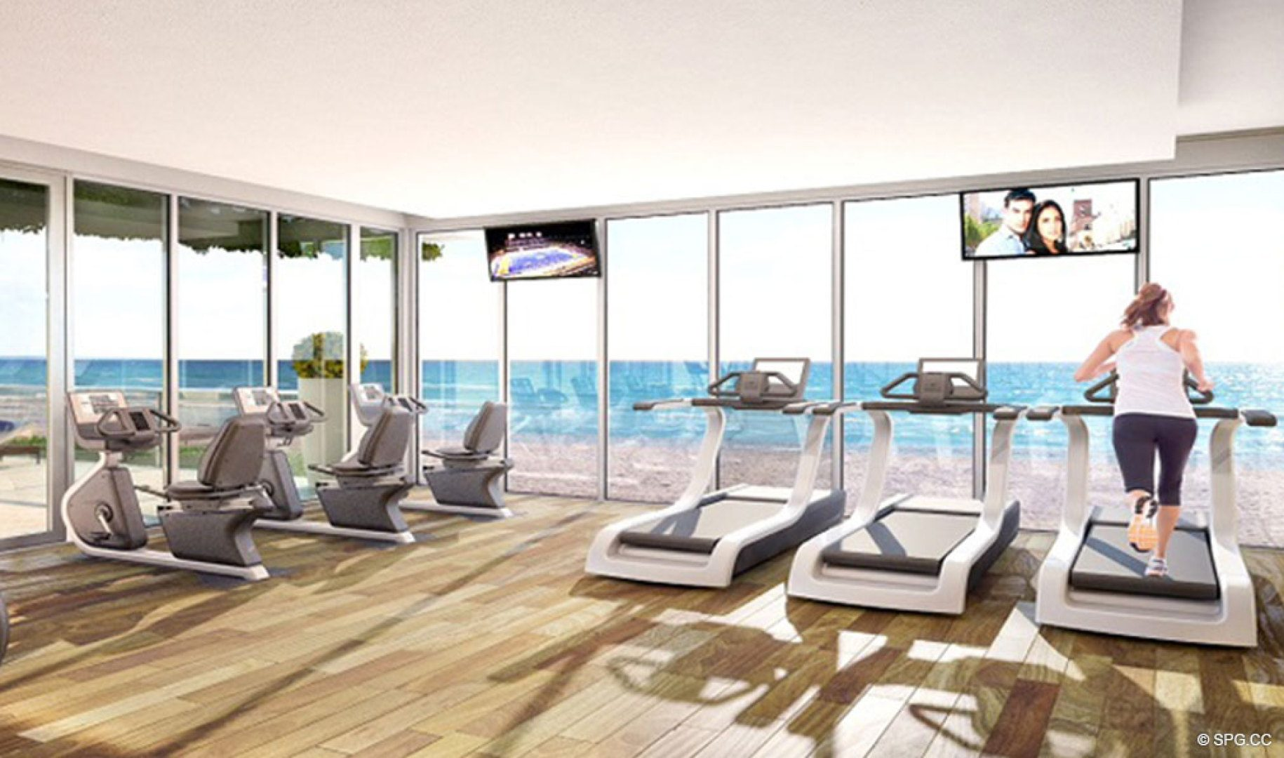 State of the Art Fitness Center at Sage Beach, Luxury Oceanfront Condos in Hollywood Beach Florida 33019