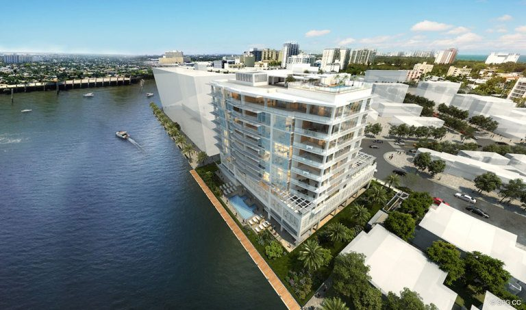 Water View of Adagio Fort Lauderdale Beach, Luxury Waterfront Condos in Fort Lauderdale, Florida 33304