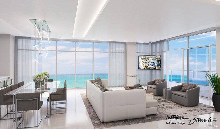 Living Room Design inside Adagio Fort Lauderdale Beach, Luxury Waterfront Condos in Fort Lauderdale, Florida 33304