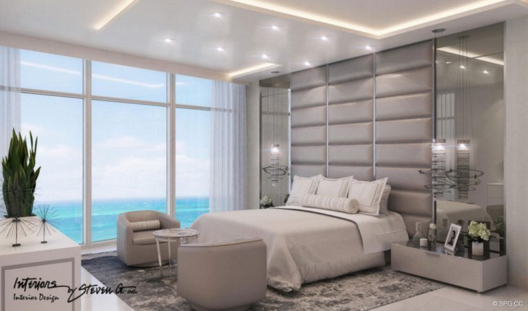 Master Bedroom in Adagio Fort Lauderdale Beach, Luxury Waterfront Condos in Fort Lauderdale, Florida 33304