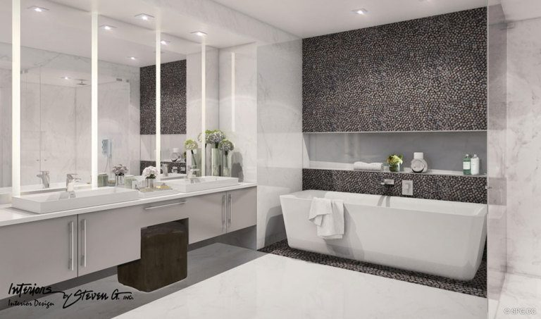 Master Bathroom Design in Adagio Fort Lauderdale Beach, Luxury Waterfront Condos in Fort Lauderdale, Florida 33304