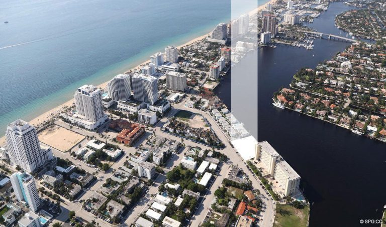 Southern Aerial location View of Adagio Fort Lauderdale Beach, Luxury Waterfront Condos in Fort Lauderdale, Florida 33304