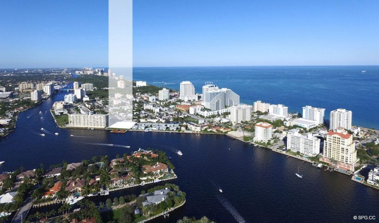 Northern Aerial location View of Adagio Fort Lauderdale Beach, Luxury Waterfront Condos in Fort Lauderdale, Florida 33304