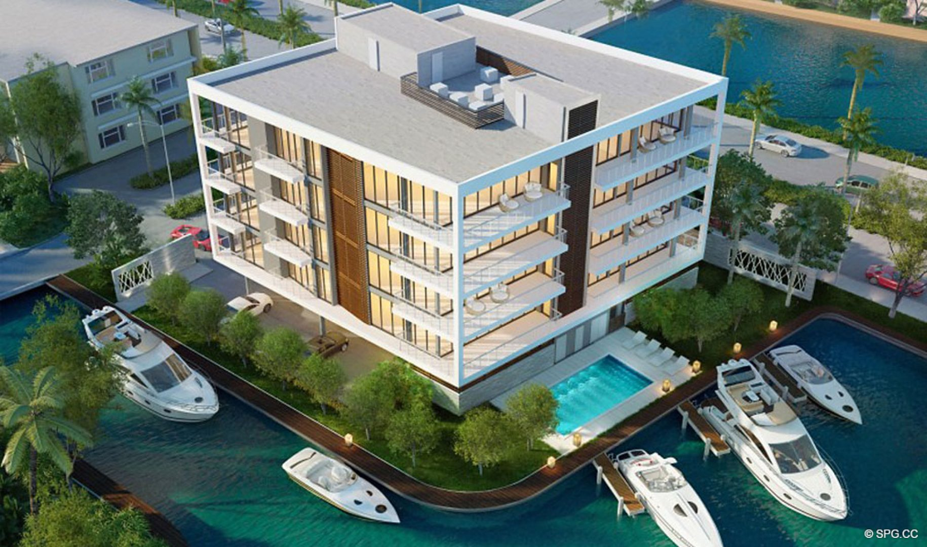 Aerial Intracoastal View of 1800 Las Olas, Luxury Waterfront Condos in Fort Lauderdale, Florida 33301