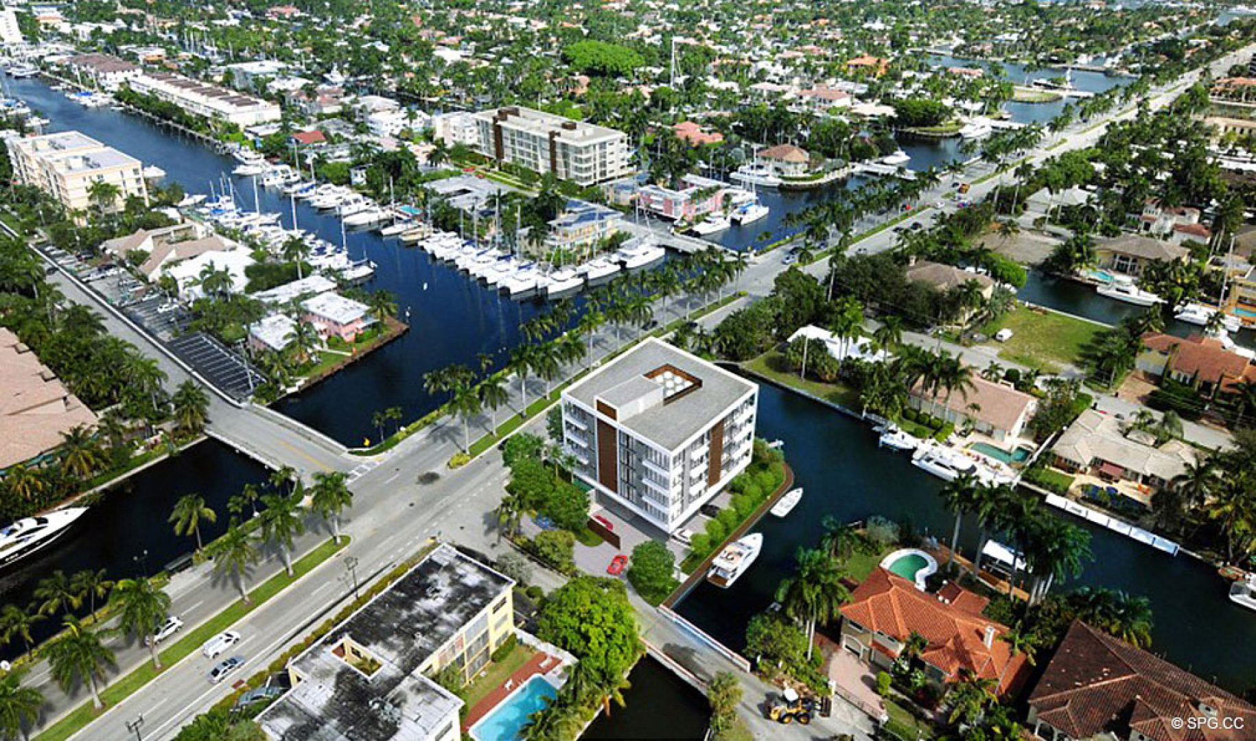 Expanded Aerial View of 1800 Las Olas, Luxury Waterfront Condos in Fort Lauderdale, Florida 33301