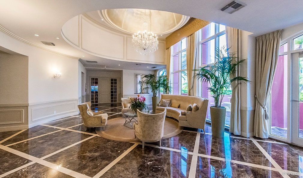 The Lobby in Tower I at The Palms, Luxury Oceanfront Condos in Fort Lauderdale 33305