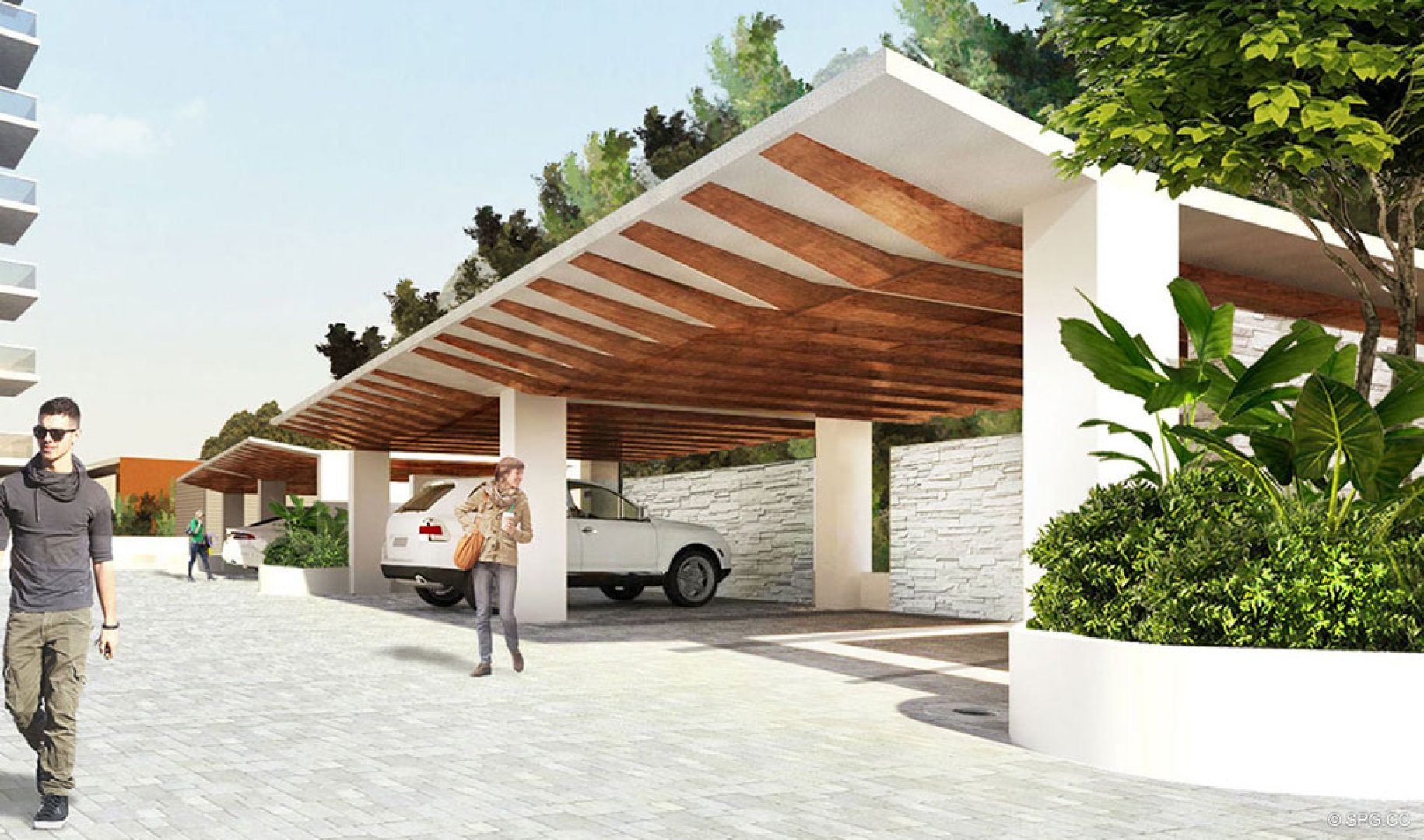 Carport at 5000 North Ocean, Luxury Oceanfront Condos in Riviera Beach