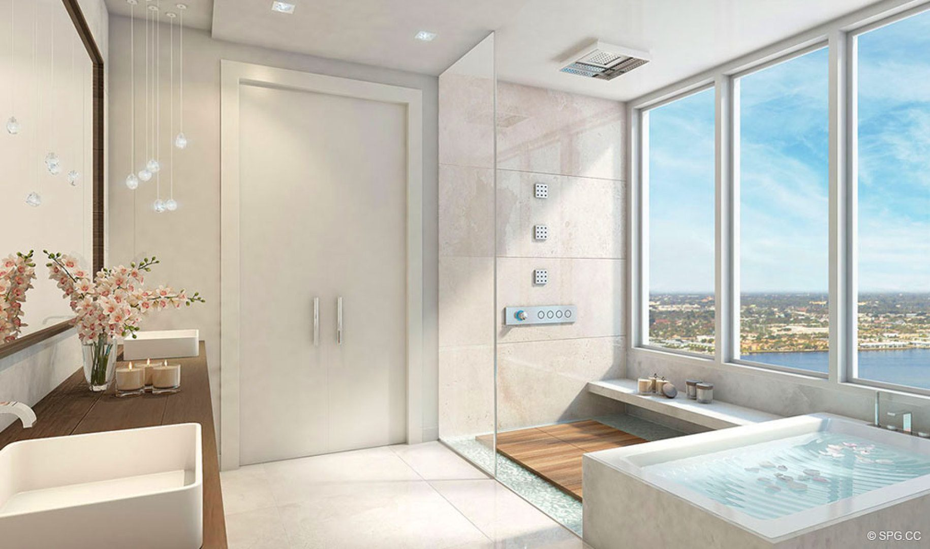 Seabreeze Bathroom Design at 5000 North Ocean, Luxury Oceanfront Condos in Riviera Beach