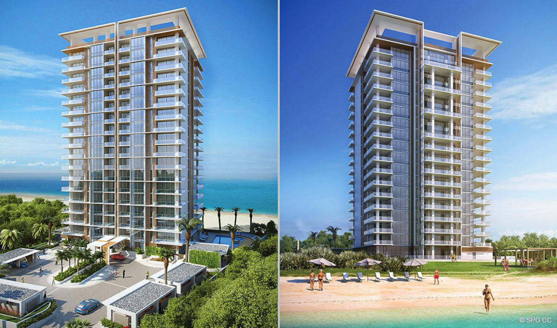 Building Facades of 5000 North Ocean, Luxury Oceanfront Condos in Riviera Beach