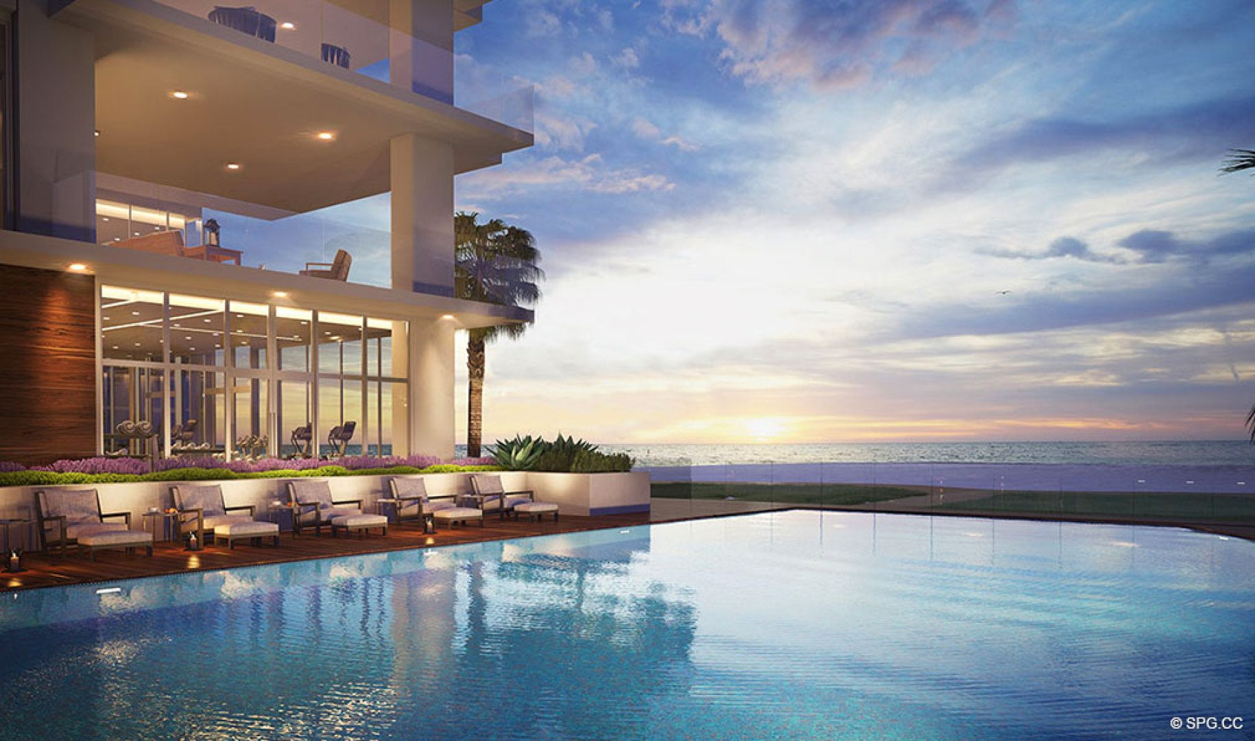 Pool Area Sunrises at 5000 North Ocean, Luxury Oceanfront Condos in Riviera Beach