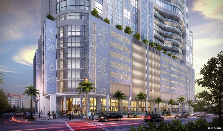 Ground Level View of 100 Las Olas, Luxury Condos in Fort Lauderdale, Florida 33301