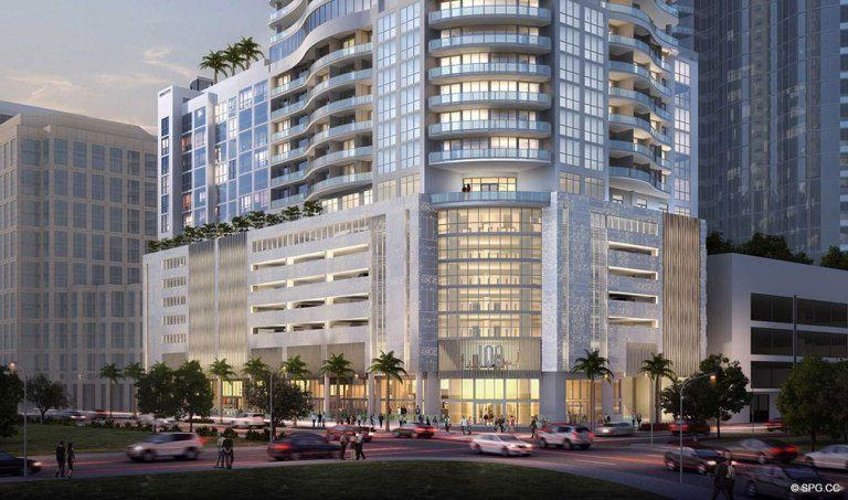 Across the Street View of 100 Las Olas, Luxury Condos in Fort Lauderdale, Florida 33301