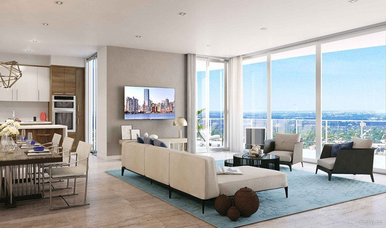 Gorgeous Open Living Spaces in 100 Las Olas, Luxury Condos in Fort Lauderdale, Florida 33301
