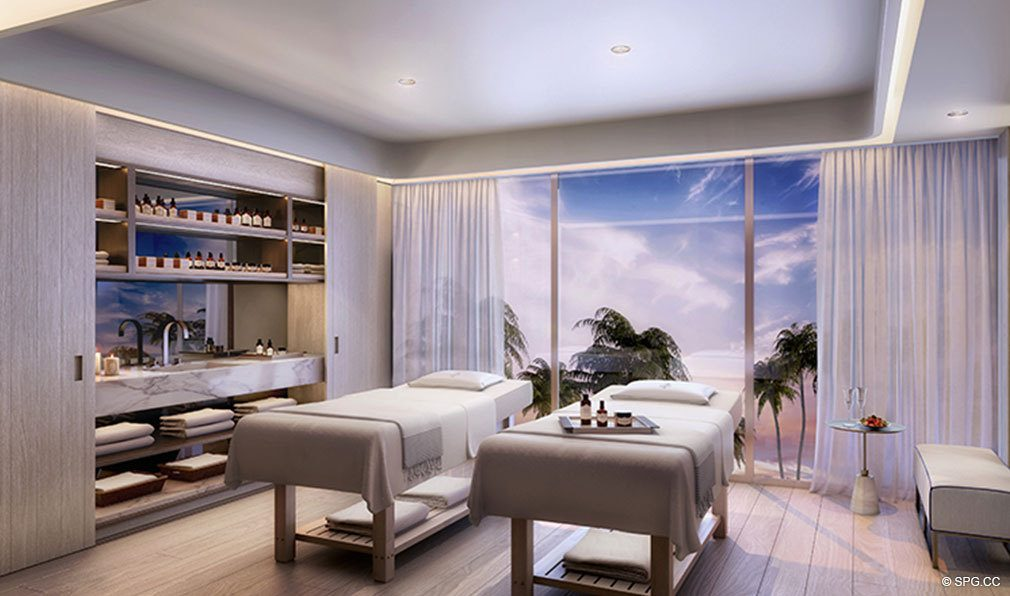 Relaxing Massage Space at The Four Seasons Private Residences Fort Lauderdale, Luxury Oceanfront Condos in Fort Lauderdale, Florida 33304.