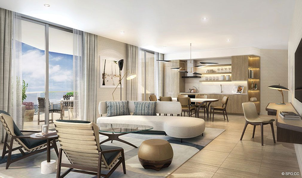 Living Room and Kitchen in The Four Seasons Private Residences Fort Lauderdale, Luxury Oceanfront Condos in Fort Lauderdale, Florida 33304.