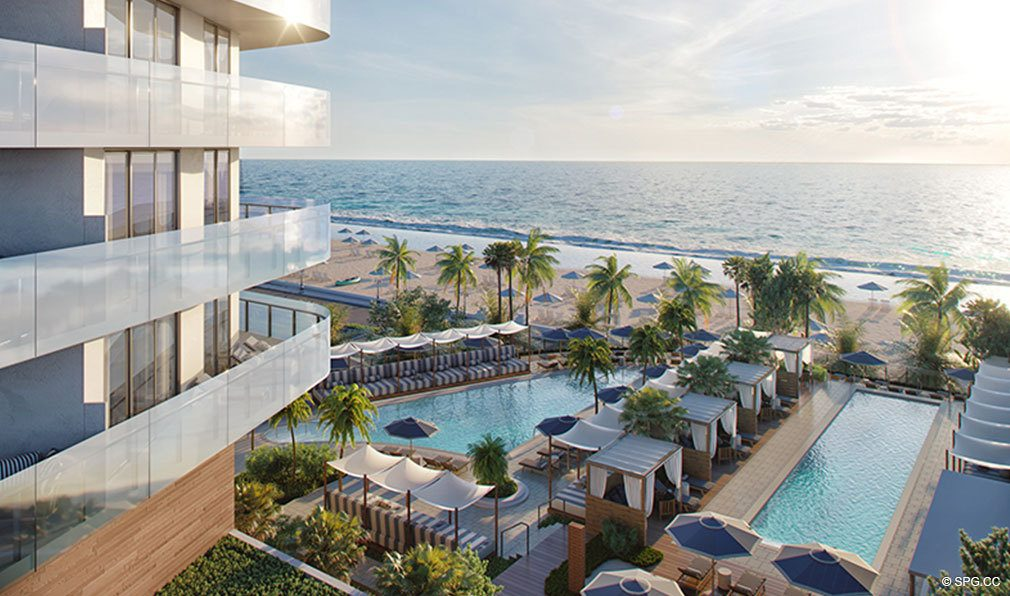 Beachfront Pool Area at The Four Seasons Private Residences Fort Lauderdale, Luxury Oceanfront Condos in Fort Lauderdale, Florida 33304.