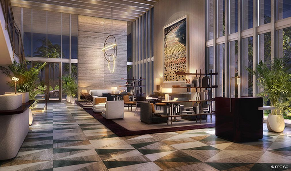 Lobby at Night at The Four Seasons Private Residences Fort Lauderdale, Luxury Oceanfront Condos in Fort Lauderdale, Florida 33304.