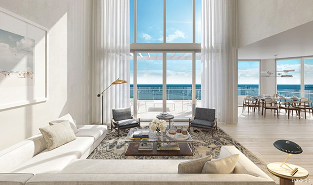 Living Room Design at The Four Seasons Private Residences Fort Lauderdale, Luxury Oceanfront Condos in Fort Lauderdale, Florida 33304.