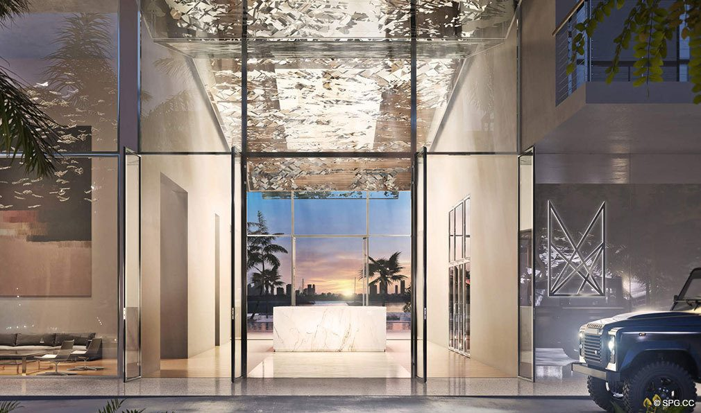 Front Entrance into Monad Terrace, Luxury Waterfront Condos in South Beach, Miami, Florida 33139.