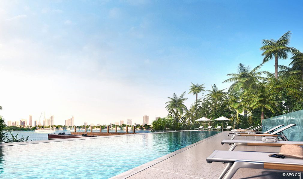 Pool Deck at Monad Terrace, Luxury Waterfront Condos in South Beach, Miami, Florida 33139.
