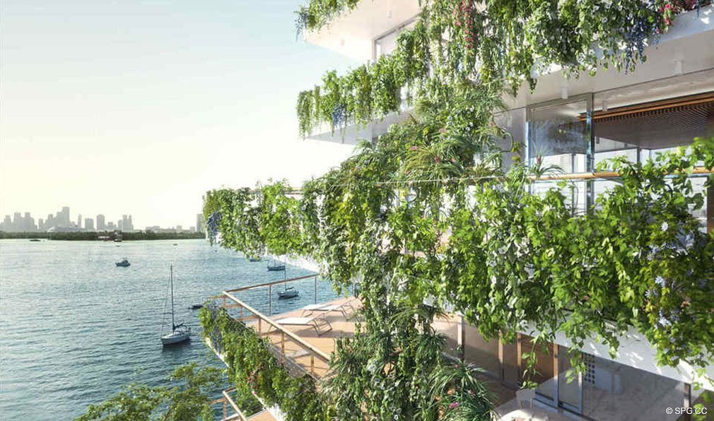 Lush Green Terraces at Monad Terrace, Luxury Waterfront Condos in South Beach, Miami, Florida 33139.