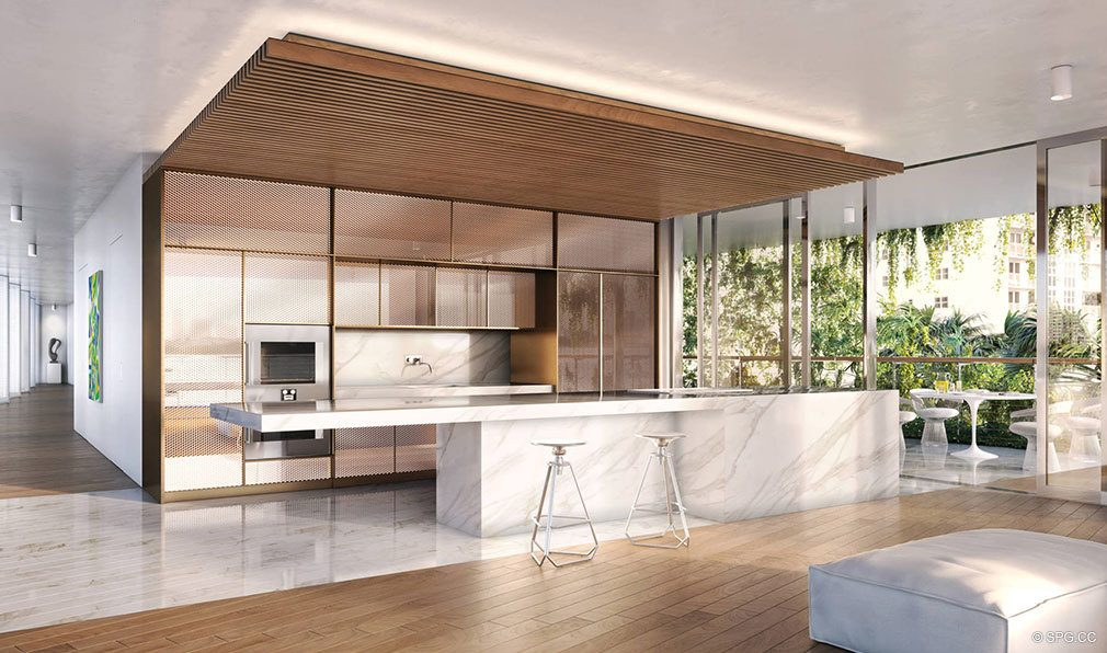 Open Gourmet Kitchen Design at Monad Terrace, Luxury Waterfront Condos in South Beach, Miami, Florida 33139.