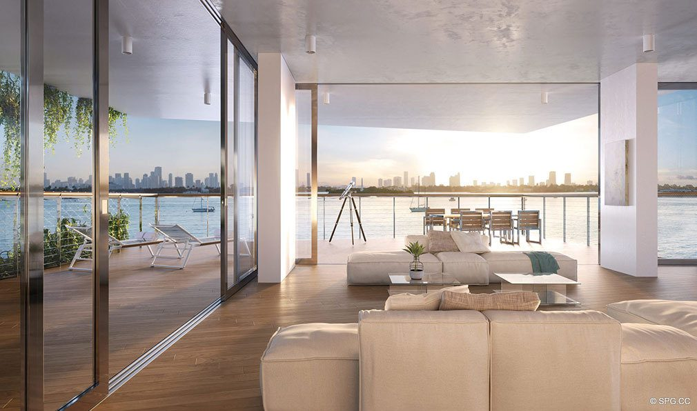 Spacious Open Living Areas in Monad Terrace, Luxury Waterfront Condos in South Beach, Miami, Florida 33139.