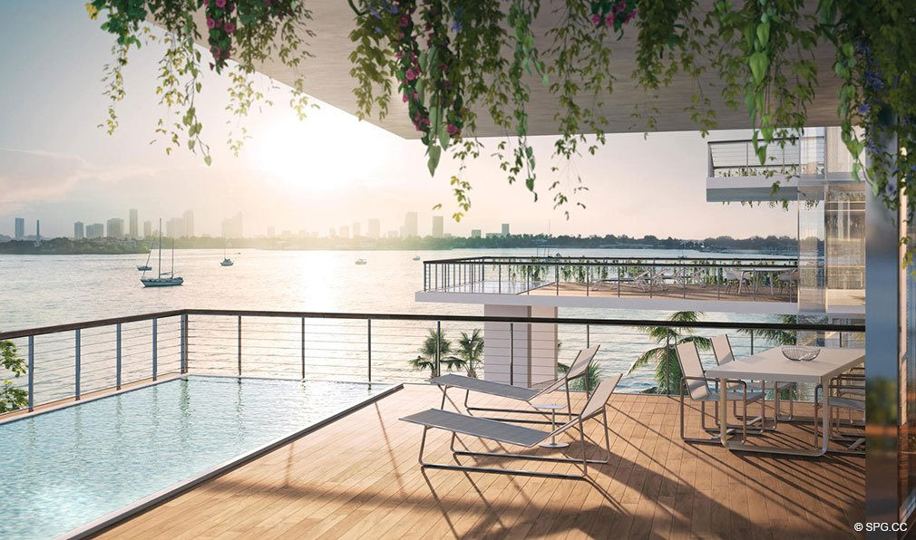 Oversized Private Terraces at Monad Terrace, Luxury Waterfront Condos in South Beach, Miami, Florida 33139.