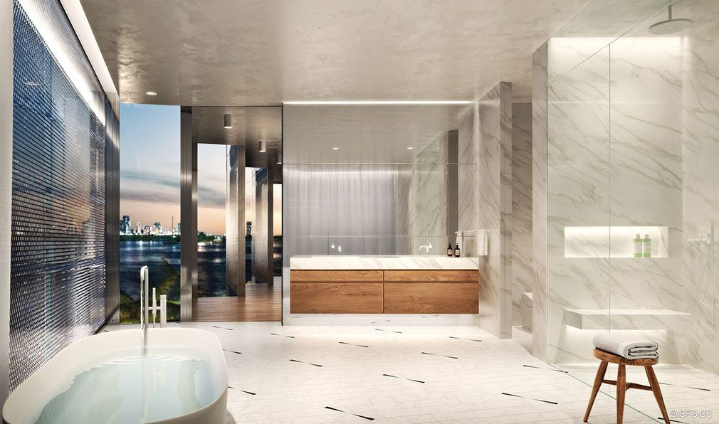 Relaxing Master Bath in Monad Terrace, Luxury Waterfront Condos in South Beach, Miami, Florida 33139.