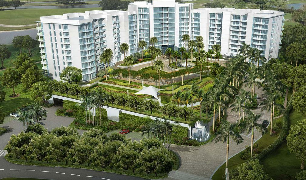 Front Aerial Rendering of Akoya Boca West, Luxury Condos in Boca Raton, Florida 33432