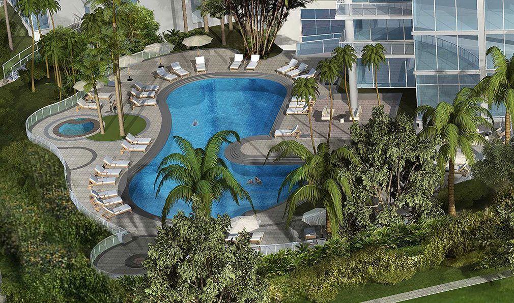 Aerial Render of Pool Area at Akoya Boca West, Luxury Condos in Boca Raton, Florida 33432