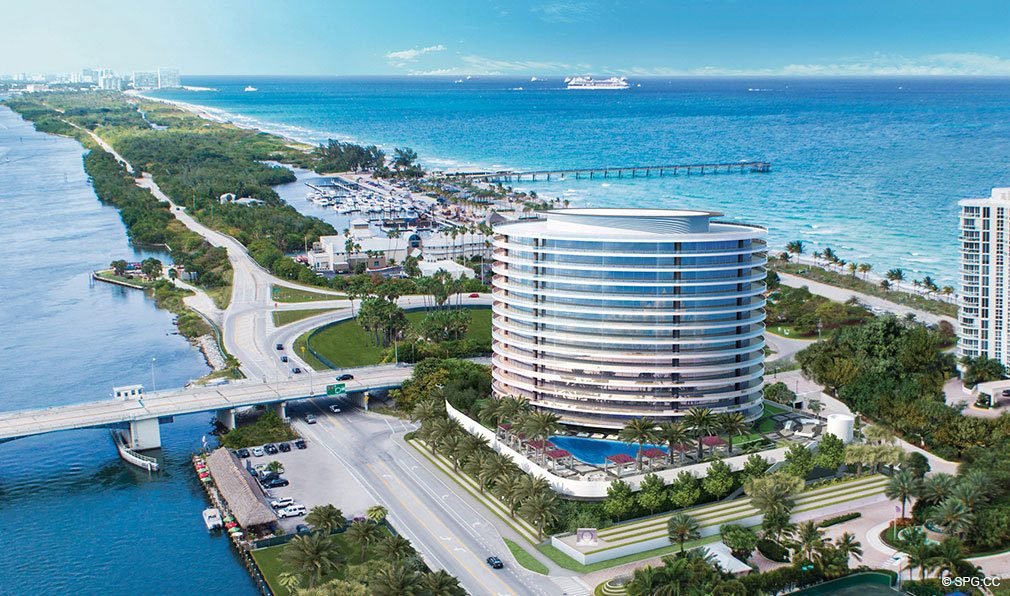 Aerial View of Oceanbleau, Luxury Waterfront Condos in Hollywood Beach, Florida 33019