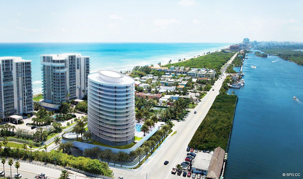 Southern Aeial View of Oceanbleau, Luxury Waterfront Condos in Hollywood Beach, Florida 33019