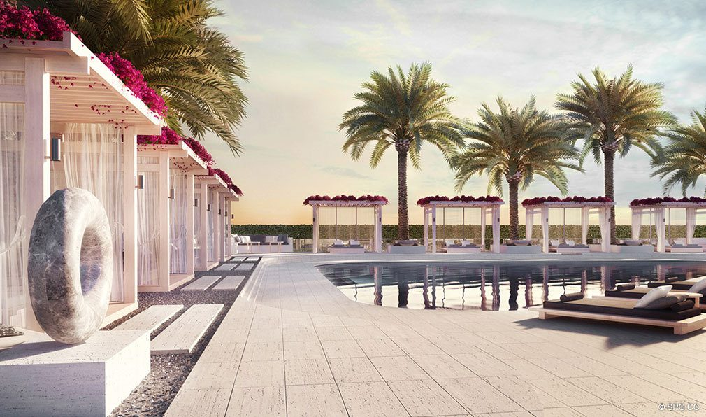 Pool Area at Oceanbleau, Luxury Waterfront Condos in Hollywood Beach, Florida 33019