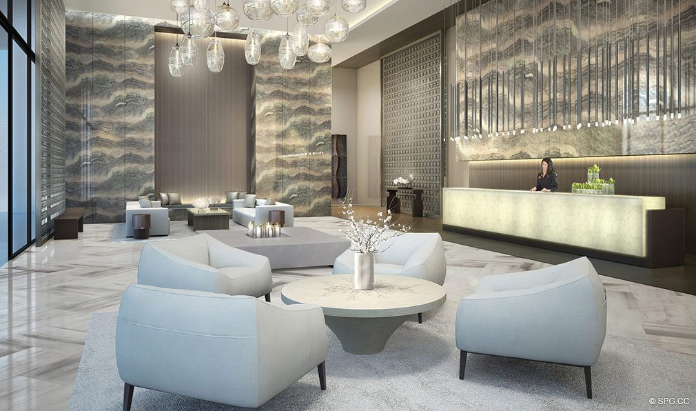 Main Lobby inside Oceanbleau, Luxury Waterfront Condos in Hollywood Beach, Florida 33019