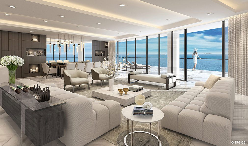 Living Room Concept in Oceanbleau, Luxury Waterfront Condos in Hollywood Beach, Florida 33019