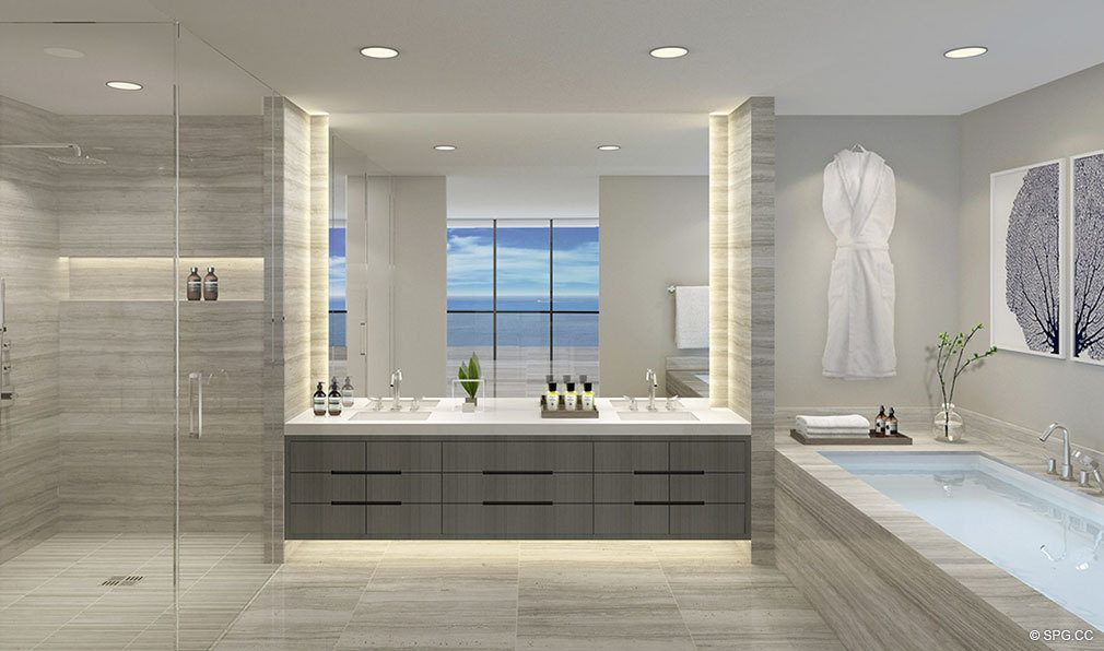 Master Bath Design at Oceanbleau, Luxury Waterfront Condos in Hollywood Beach, Florida 33019