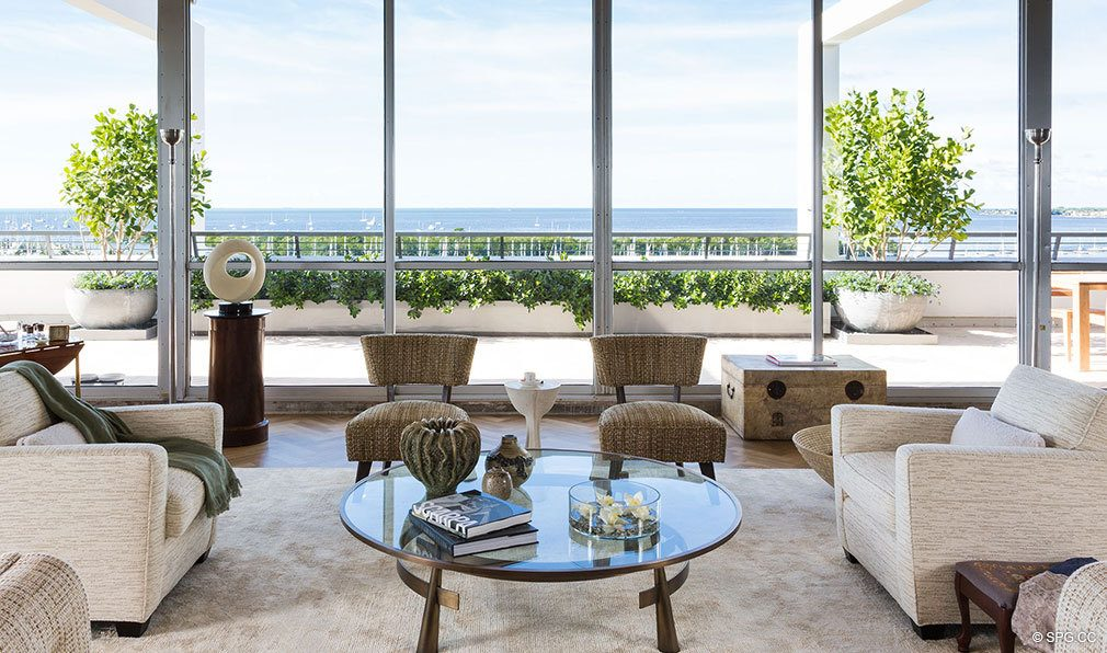 Living Room Views from Club Residences at Park Grove, Luxury Waterfront Condos in Miami, Florida 33133