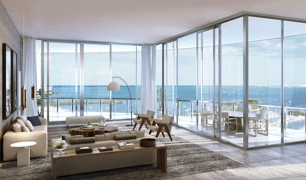 Living Room Design at Park Grove, Luxury Waterfront Condos in Miami, Florida 33133