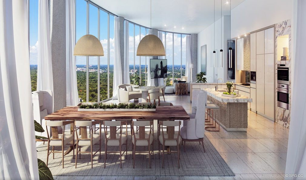 Dining Area and Kitchen at Park Grove, Luxury Waterfront Condos in Miami, Florida 33133
