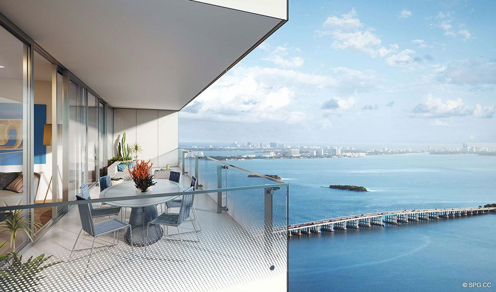 Superb Balcony View from Missoni Baia, Luxury Waterfront Condos in Miami, Florida 33137
