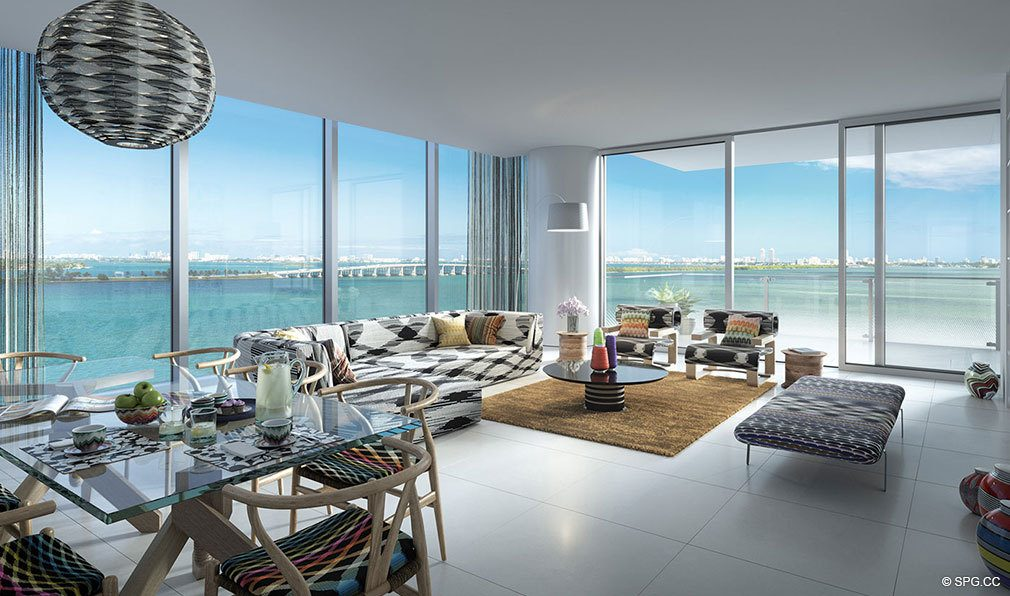 Floor to Ceiling Glass Views from Missoni Baia, Luxury Waterfront Condos in Miami, Florida 33137