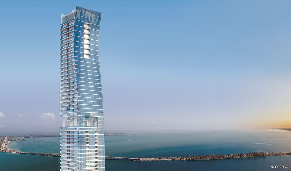 Daytime Facade of Echo Brickell, Seaside Luxury Condos in Miami, Florida 33131