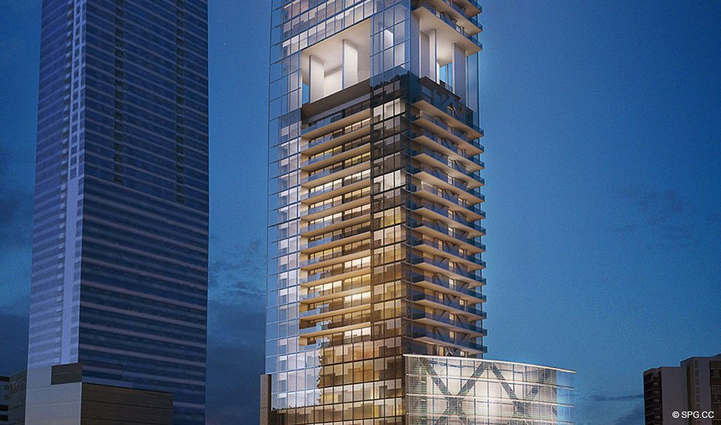 Building Facade of Echo Brickell, Seaside Luxury Condos in Miami, Florida 33131