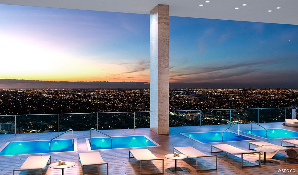 Four Aerial Hot Tubs at Echo Brickell, Seaside Luxury Condos in Miami, Florida 33131