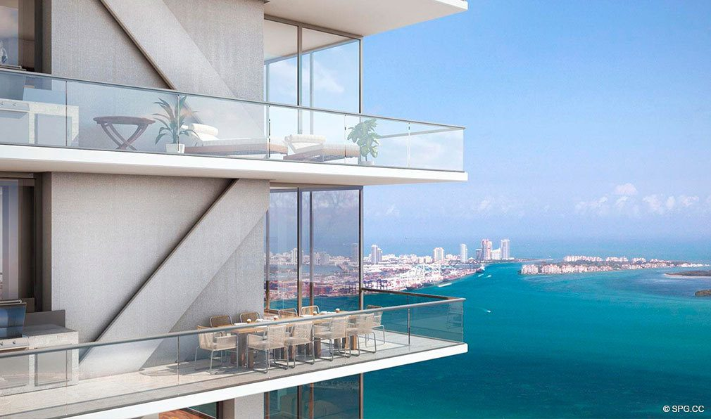 Forever Terrace Views from Echo Brickell, Seaside Luxury Condos in Miami, Florida 33131