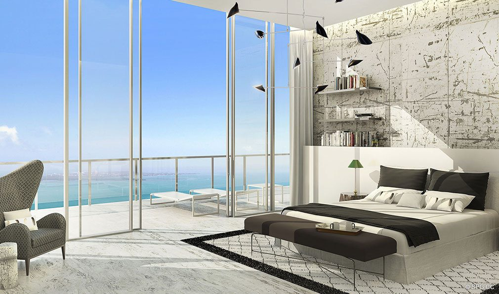 Master Bedroom with Terrace at Echo Brickell, Seaside Luxury Condos in Miami, Florida 33131