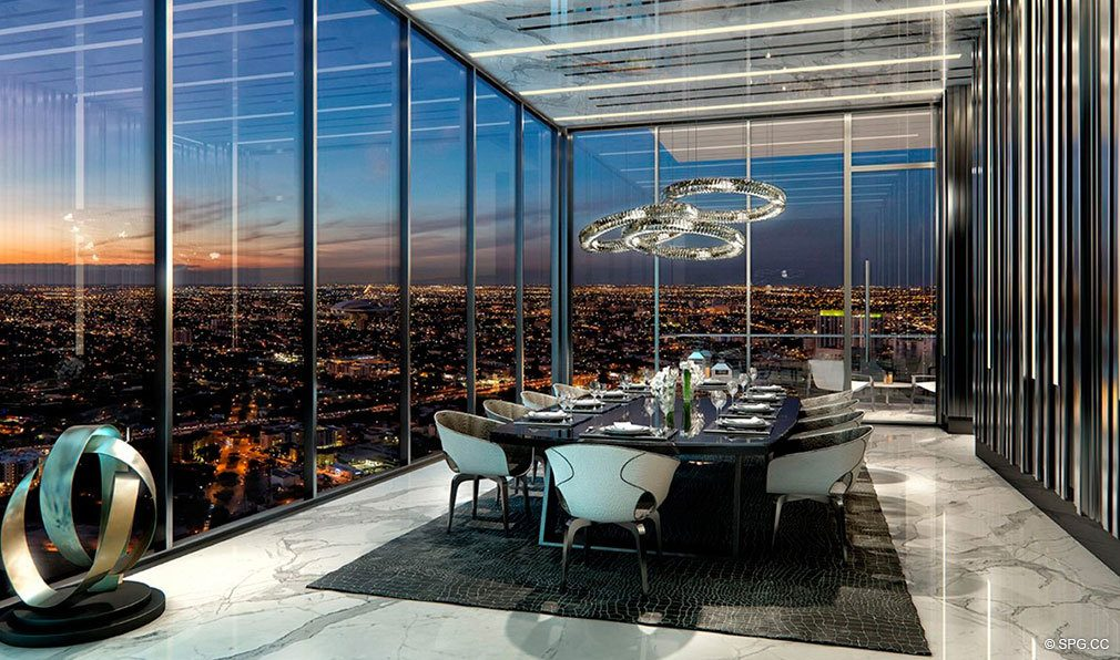 Grand Dining Room at Echo Brickell, Seaside Luxury Condos in Miami, Florida 33131